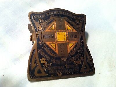 UNITED FOURTH VEIN COAL CO Indianapolis IN brass CLIP CLAMP 1920's?