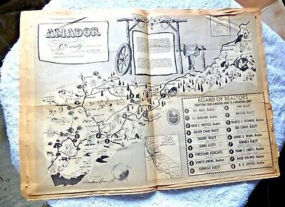 Vintage Cartoon Map Amador County Heart Of Mother Lode By Sinclair Ross 1966