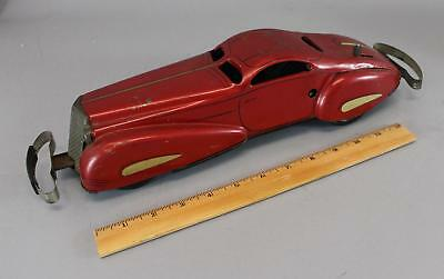 Antique 1939, Marx Company, Pressed Steel Red Wind-Up Tin Litho Bumper Car Toy