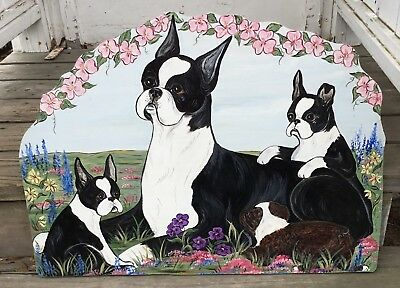 Large Painted Boston Terrier Dog w/ 2 pups on Wood
