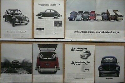 VW-Volkswagen Beetle Bug Bus Station Wagon Ad Lot (32) WOW!