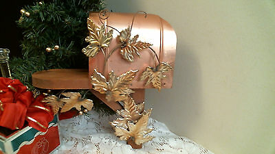 Home Interior COPPER MAILBOX with BRASS LEAVES  vintage display