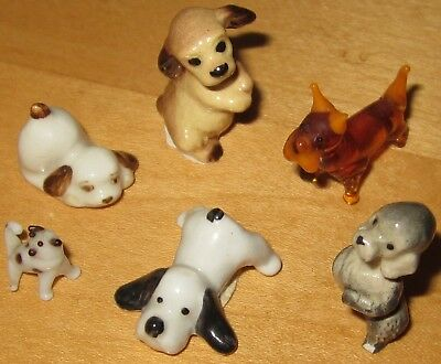 VTG Miniature Dog Figurine LOT 6 Mini Puppy Statue Ceramic Porcelain Glass 1""