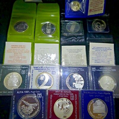 Silver Israel Coins BU and Proof Lot Of 12
