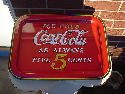 Large  Coca Cola Ice Cold As Always Five (5)  Cents Collector's Tray