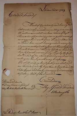 1749 Letter Lost at sea Tobacco Ship Captain Thwaits Mordeai Moore & Co Maryland