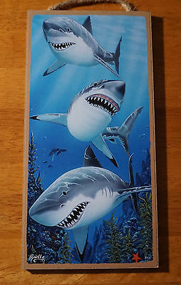 GREAT WHITE SHARK Nautical Beach Ocean Tropical Tiki Bar or Home Decor Sign NEW