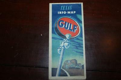 Vintage 1940's Gulf Station Gas & Coil TEXAS Info Fold Out Road Travel Map