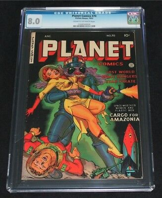 PLANET COMICS #70 ~ CGC 8.0 ~ GGA HEADLIGHTS Cvr ~ RARE ~ $1,700+ Value