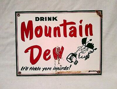 OLD MOUNTAIN DEW SODA PORCELAIN ADVERTISING  SIGN Vintage pepsi coca cola store