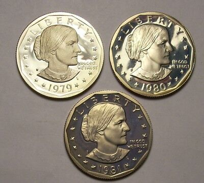 Lot 1979- S 1980-S 1981-S Susan B Anthony Gem Proof Dollar Coin Set