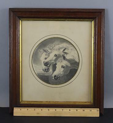 1871 Antique 19thC Pencil Drawing after J.F. Herring PHARAOHS HORSES No Reserve