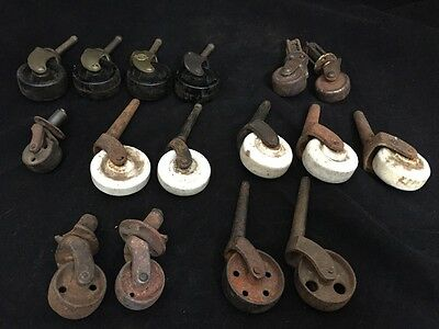 Lot of15 Antique Casters Wheels Cast Iron,Porcelain-Furniture,Industrial Salvage
