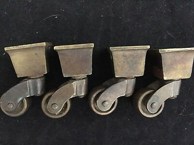 """4 Vintage Solid Brass Square Swivel Cup Casters Furniture- 2"""" Ht; 7/8"""" Wheel"""