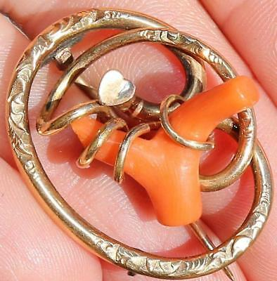Beautiful! Vtg Antique Victorian Etched Gold Filled Branch Coral Brooch Pin Ac36