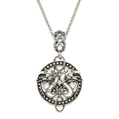 Viking Celtic Knots Dragon Charm Pendant Necklace Antique Silver Jewelry Chic