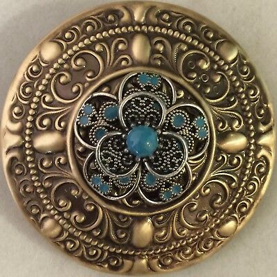 """TURQUOISE ON LARGE DOMED Stamped Brass~Antique And Vintage~Button~2 1/4"""" INCH"""