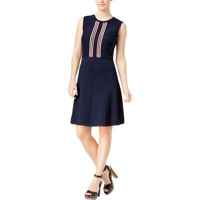 Tommy Hilfiger 5401 Womens Navy Scalloped Print Fit & Flare Sweaterdress XS BHFO