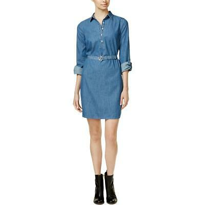 Tommy Hilfiger 7712 Womens Blue Chambray Denim Shirtdress M BHFO