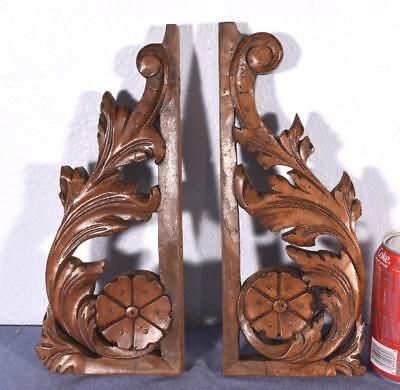 Pair of French Antique Brackets/Trim Pieces in Walnut Wood
