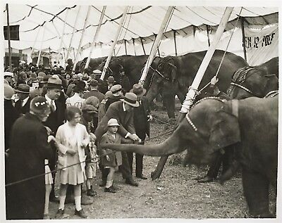 H.A. Atwell VINTAGE STAMPED Circus Goes Feed Baby Elephant Double Weight Photo