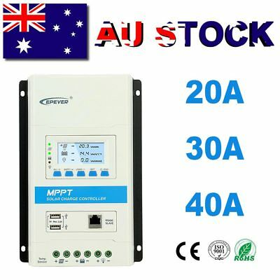 EPEVER 20A 30A 40A MPPT Solar Charge Controller Regulator 12/24V Auto Dual USB