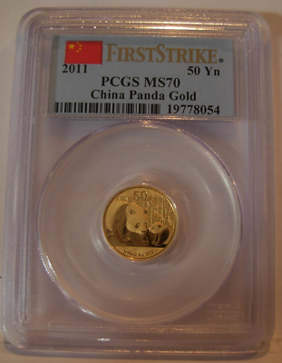 China 2011 Gold 1/10 oz Panda 50 Yuan PCGS MS-70 First Strike
