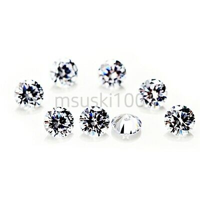 10 x Cubic Zirconia loose gems White Clear Crystal CZ Round Brilliant 2 - 12mm