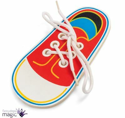 Tobar Wooden Lacing Shoe Learn Tie Laces Kids Educational Motor Skills Gift Toy