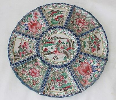 9 antique 19th c century Chinese pottery yixing enamel painted plate 's signed