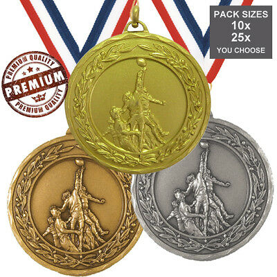 PACK of 10x RUGBY MEDALS 50mm TOP QUALITY, WITH RIBBONS 3 COLOURS, FREE PP
