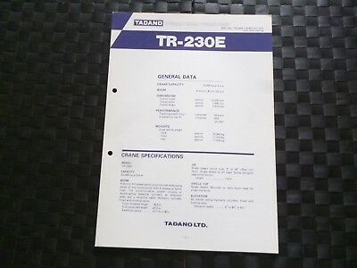 Tadano Tr-230E Hydraulic Rough Terrain Crane L/H Steering Leaflet *As Pictures*