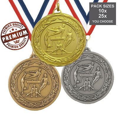 PACK of 10x GYNASTICS MALE MEDALS 50mm TOP QUALITY, WITH RIBBONS, FREE PP