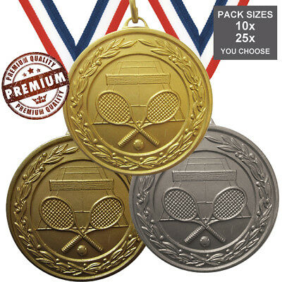 PACK of 10x TENNIS MEDALS 50mm TOP QUALITY, WITH RIBBONS, FREE PP