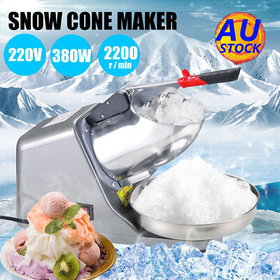 AU 65KG/H 2200R/min Electric Ice Crusher Shaver Commercial Machine Snow Maker