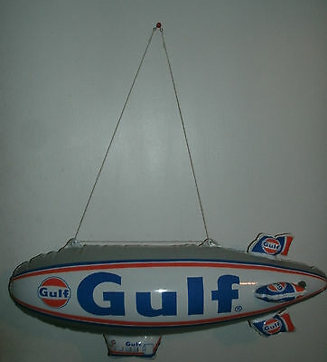 "Inflatable 24"" Gulf Blimp In New Sealed Bag - Man Cave Gas Oil Decor Collectible"