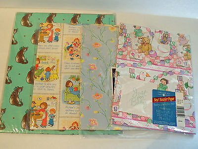 Vintage Gift Wrap Wrapping Paper Lot of 4 Mothers Day, Cats, Baby, Floral folded