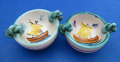 "Unique 2 Italian Art Pottery OPEN SALTS Hand Painted Sail Ship Handles 2"" AS IS"