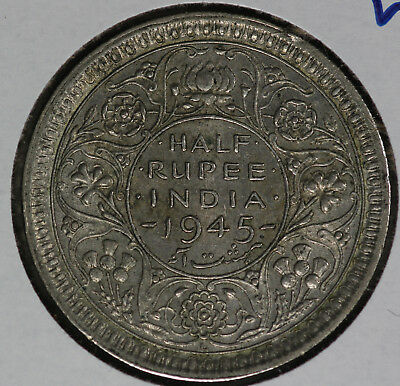 "RARE 1945 L ""Large 5"" 1/2 Rupee British-India One Rupee Silver Coin!!"