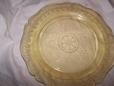 """Federal Depression Glass Patrician Amber (Spoke) Dinner Plate 11"""" 14AA"""