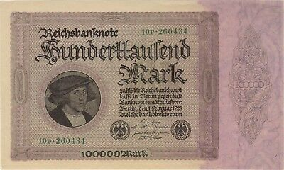 1923 100,000 Mark Germany Currency Reichsbanknote Unc German Banknote Bill Note
