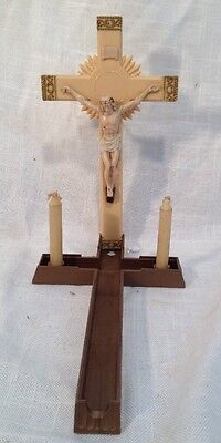 1930s Vintage Sick Call Last Rites Wood Celluloid Crucifix Wall Hanging