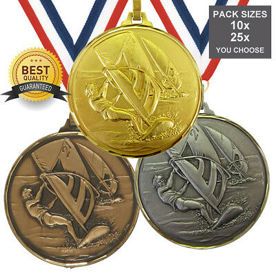 PACK of 10x WIND SURFING BRASS MEDALS 52mm TOP QUALITY, FREE RIBBONS, FREE PP