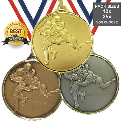 PACK of 10x AMERICAN FOOTBALL BRASS MEDALS 52mm QUALITY, FREE RIBBONS, FREE PP