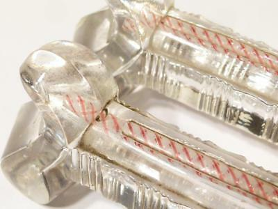 Pair Antique Venetian Murano Glass Knife Rests with Latticino TWIST Red White #2