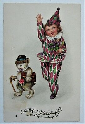 Violets CHILD CLOWN & Dressed DOG with Cane and Bowler Hat Fantasy Postcard