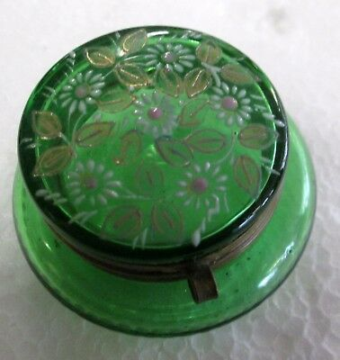 Antique Emerald Green glass patch box/pill box Hand Painted Flowers