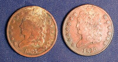 1826 and 1834  Half Cents