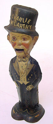 """1930s MARX 8.25"""" EDGAR BERGEN'S CHATTERING CHARLIE MCCARTHY TIN WIND UP WORKS!"""