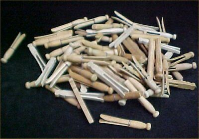 Vintage Antique Square & Flat Head Clothes Pins Wire Wrapped 75 LOT Wood Wooden